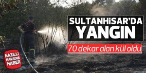Sultanhisar'da 70 dekar alan kül oldu