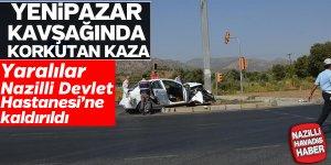 Yenipazar kavşağında korkutan kaza