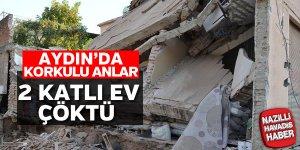 Aydın'da 2 katlı ev çöktü