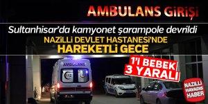 Sultanhisar'da kamyonet şarampole devrildi: 3 yaralı